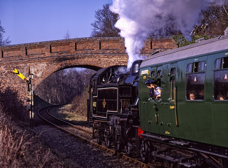 Visiting Ivatt No. 41312 at Caseford Bridge, with the 14:33 Sheffield Park - Kingscote,  <br /> during the Branch Line Weekend, on 22nd February 2003.