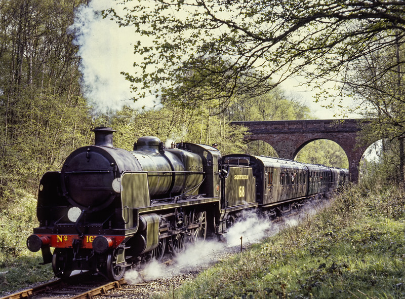 U class No. 1618 at Three Arch Bridge, with the 15:37 Sheffield Park - Horsted Keynes, <br /> on 19th April 1981.