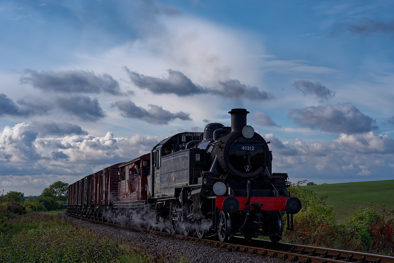 Ivatt 41312 at Northside Lane with the 14:40 Alresford sidings - Ropley freight service. During the Steam Gala on 21st October 2016.