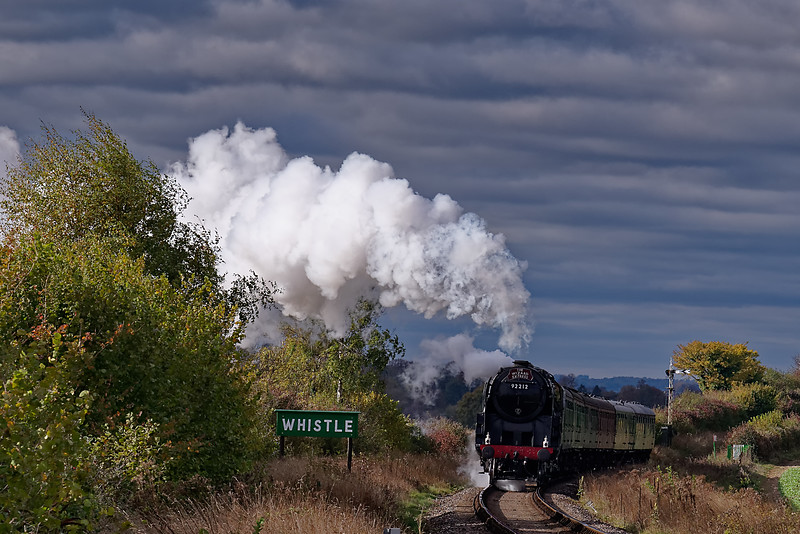 """9F 92212 at Northside Lane with the 13:00 Alresford - Alton, during """"Wizard Weekend"""" <br /> on 27th October 2018."""