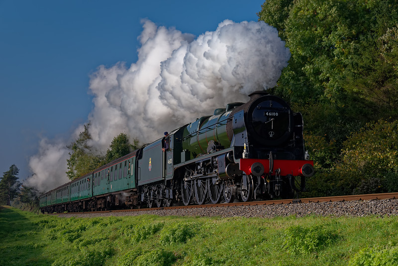 """46100 """"Royal Scot"""" at Stable Lane with the 10:05 Alresford - Alton, during the Steam Gala <br /> on 23rd October 2016."""