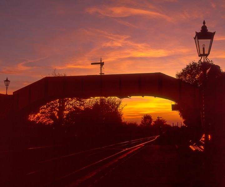 Ropley Footbridge at sunset, on 19th November 2005. Scanned Transparency.