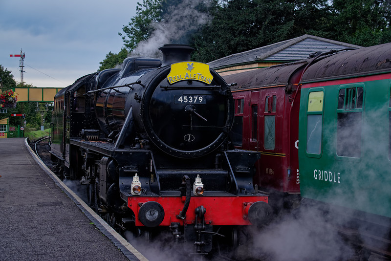Black Five 45379 being prepped for the Real Ale Train at Ropley on 8th September 2018.