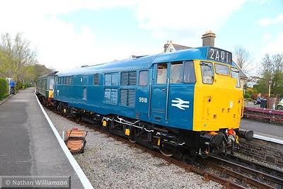 31101 departs Bitton hauling the Class 107 DMU on: 13:05 Oldland Common to Avon Riverside  11/04/15
