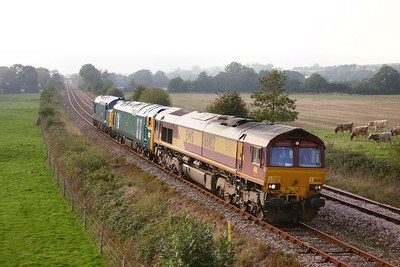 66182 + 50042 + 37142 head south through Gunstone Mill on the: 0Z66 14:55 Meldon Quarry to Bodmin Parkway  15/10/06