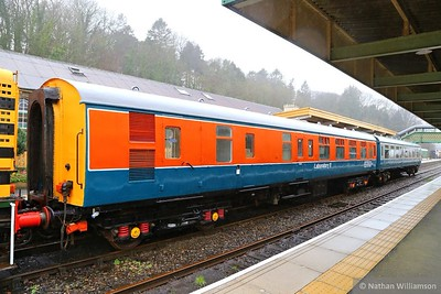 "975046 ""Laboratory 11"" stands in Okehampton having been restored to its departmental colours.  975046 was converted from Mk1 BSK 34329 into a Tribology testing coach for British Rail"