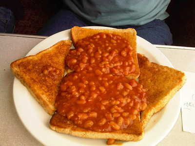 "Baked Beans on Toast. £3.50. Served onboard the Great Central Railway's ""Griddle Car""  09/09/12"