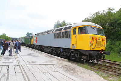 56311 & 56303 arrive into Rushcliffe Halt, on the rear of 20154's train 15/05/11