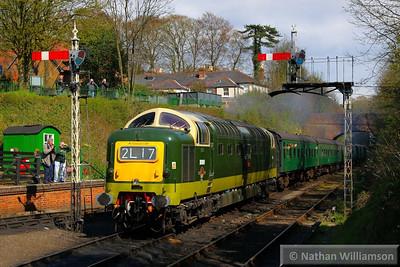 D9009 arrives into Alresford on the: 14:50 Alton to Alresford  26/04/13