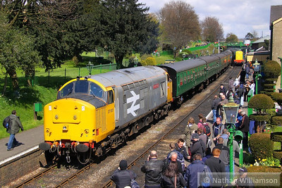 37901 uncouples from the rear of the train in Ropley  27/04/13