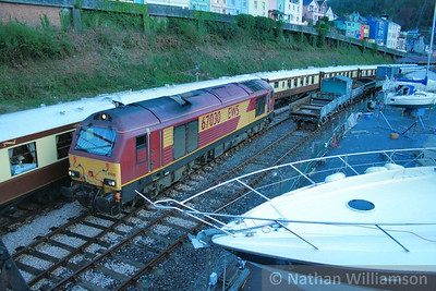 67030 runs round in Kingswear ready to work the: 1Z30 20:45 Kingswear to Exeter St Davids  25/04/09