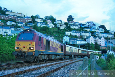67030 stands in Kingswear on the: 1Z30 20:45 Kingswear to Exeter St Davids  25/04/09