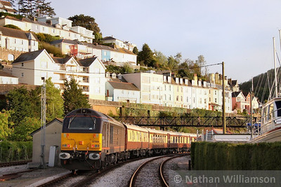 67006 stands in Kingswear with the VSOE rear to work the: 1Z30 20:45 Kingswear to Exeter St Davids  15/05/10