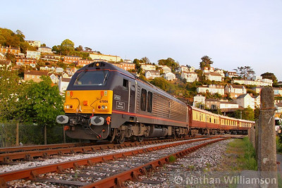 67006 departs Kingswear with the VSOE on the: 1Z30 20:45 Kingswear to Exeter St Davids  15/05/10