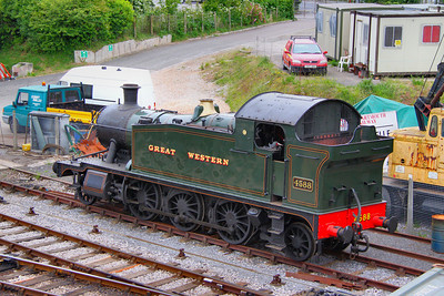 Long term stored GWR Prairie '4575' No 4588 stored at Churston. Having not worked for the last 15 years, the loco is missing its whistle and its side roads 05/06/11
