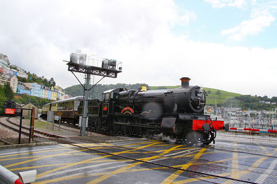 "7827 ""Lydham Manor"" departs Kingswear after a heavy shower 17/07/11  Watch the video at: http://www.youtube.com/watch?v=PAfAQgU1IXY"