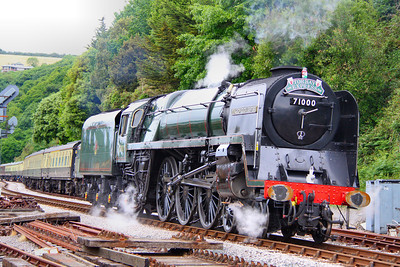 "71000 ""Duke of Gloucester"" departs Kingswear, running light engine tender first to turn on Churston Turntable 05/06/11  Watch the video at: http://www.youtube.com/watch?v=ZLH7mpEknkk"