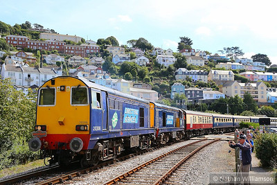 20308 & 20303 haul the empty stock out of the main platform in Kingswear to shunt into the bay platform 30/08/13  Watch the video at: http://youtu.be/d9yr6JBv3y