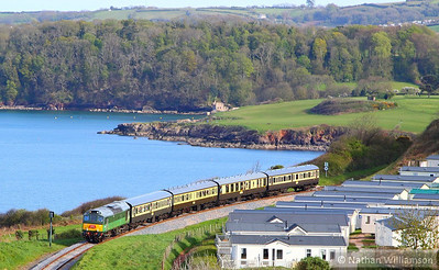 "D7535 (25185) passes Waterside Caravan Park on the Devon Diesel Society's ""The Seaside Sulzer""  17:40 Kingswear to Paignton Queens Park  04/05/13"