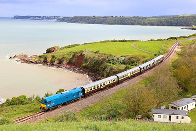 D7535 descends past Waterside Caravan Park on the: 15:45 Kingswear to Paignton Queens Park  27/04/14