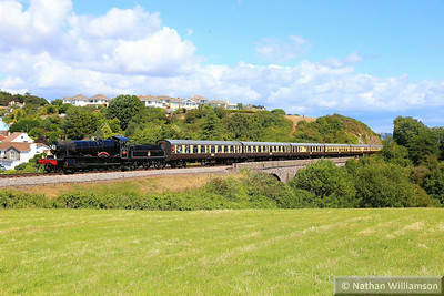 7827 Lydham Manor crosses Broadsands Viaduct on: 12:15 Paignton Queens Park to Kingswear 03/08/14  Watch the video at: http://youtu.be/h-6PE_Drm_c