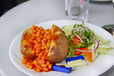 "Jacket Potato with Beans. Served in ""The Engine House Cafe"" at Highley on the Severn Valley Railway. 08/10/11"