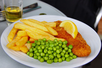 "Cod, Chips & Peas. Served in ""The Engine House Cafe"" at Highley on the Severn Valley Railway. 08/10/11"