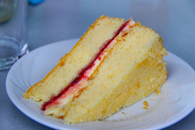 "Victoria Sponge. Served in ""The Engine House Cafe"" at Highley on the Severn Valley Railway. 08/10/11"