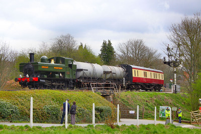 1369 arrives into Buckfastleigh with the milk train, forming the: 13:35 Bishops Bridge Loop to Buckfastleigh  07/04/12  Watch the video at: http://youtu.be/AHZdgq-wK50