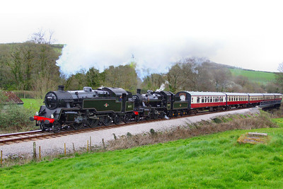 80072 & 78019, both visiting the SDR head north through Nursery Pool working the: 15:37 Totnes Littlehempston to Buckfastleigh  08/04/12  Watch the video at: http://youtu.be/K0psfxJfsh4
