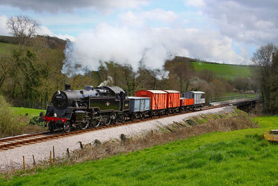 80072 heads north through Nursery Pool with a freight working forming the: 13:34 Totnes Littlehempston to Buckfastleigh  08/04/12  Watch the video at: http://youtu.be/K0psfxJfsh4