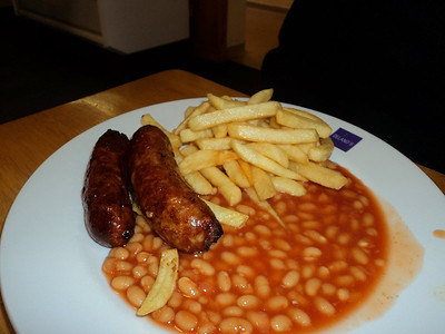 Sausage, Chips & Beans. Served in Buckfastleigh Station Cafe  30/03/13