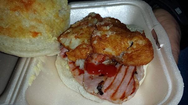 Bacon & hash Brown Bap