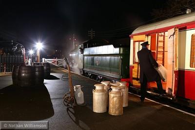 Milk churns being loaded in Staverton Station  08/12/14