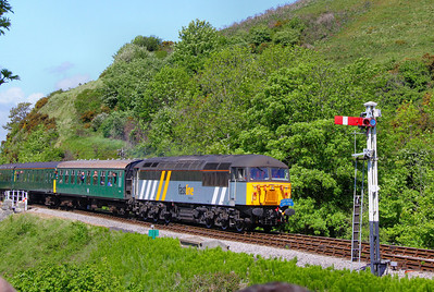 56301 arrives into Corfe Castle Station on the: 1S11 13:10 Norden to Swanage 08/05/11