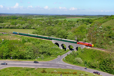 37503 crosses Corfe Castle Viaduct on the: 1S13 13:50 Norden to Swanage 08/05/11