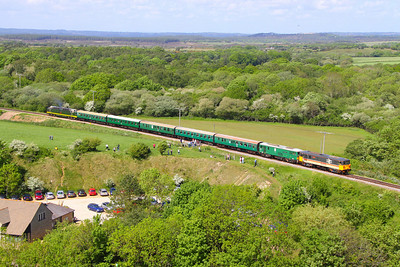 73205 &  73136 pass Corfe Castle Foot Crossing on the: 1H11 14:10 Norden to Harmans Cross 08/05/11