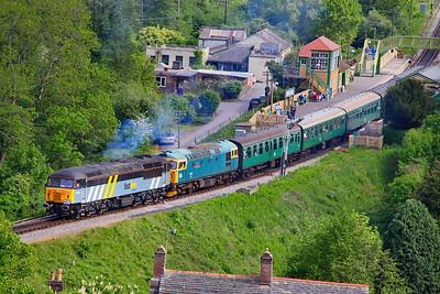 56302 & 33103 depart Corfe Castle Station 08/05/11