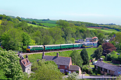 D6515 (33012) arrives into Corfe Castle Station on the rear of the: 1S11 13:10 Norden to Swanage 08/05/11