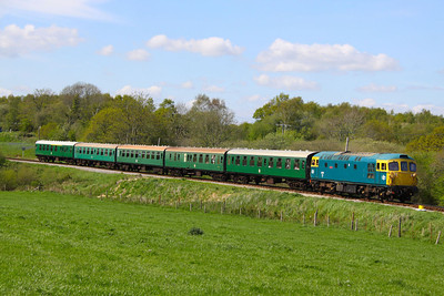 33111 passes Corfe Castle Foot Crossing on the: 2S17 15:15 Norden to Swanage  13/05/12  Watch the video at: http://youtu.be/TClgU8KN47E