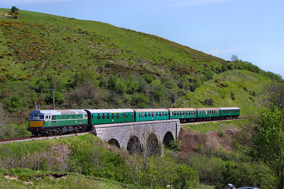 D5401 crosses Corfe Castle Viaduct on the: 2N16 14:30 Swanage to Norden  13/05/12  Watch the video at: http://youtu.be/TClgU8KN47E
