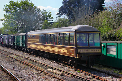No 114 - Pullman  Pullman Kitchen Third built 1921, in the sidings at Corfe Castle  12/05/12