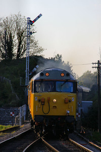 50026 arrives into Corfe Castle Station on the: 2S27 19:30 Norden to Swanage  11/05/12