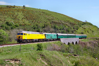 57312 & 73136 cross Corfe Castle Viaduct working the: 1S08 14:58 Swanage to Norden  13/05/12  Watch the video at: http://youtu.be/TClgU8KN47E