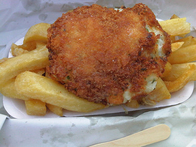 "Homemade Fishcake & Chips. Served in ""The Fish Plaice"" in Swanage  12/05/12"