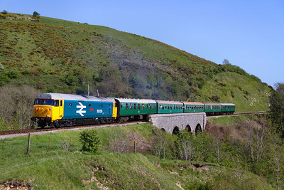 50026 crosses Corfe Castle Viaduct working the: 2N20 16:00 Swanage to Norden  13/05/12  Watch the video at: http://youtu.be/TClgU8KN47E