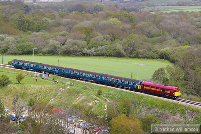 31466 crosses Corfe Castle Foot Crossing on the: 12:35 Norden to Swanage 12/05/13  Watch the video at: http://youtu.be/52Ii9p_d3WY