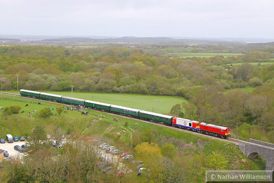 20189 & 20227 cross Corfe Castle Foot Crossing on the: 12:15 Norden to Swanage 12/05/13  Watch the video at: http://youtu.be/HqwNXoPpM8Y