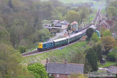20142 departs Corfe Castle Station on the: 12:15 Swanage to Norden  12/05/13