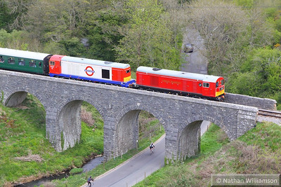 20189 & 20227 cross Corfe Castle Viaduct on the: 12:15 Norden to Swanage 12/05/13  Watch the video at: http://youtu.be/HqwNXoPpM8Y